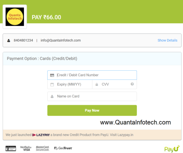 payu payment card page